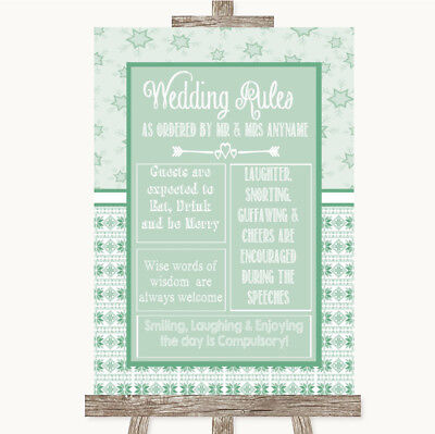 Wedding Sign Poster Print Winter Green Rules Of The Wedding • 8.29$