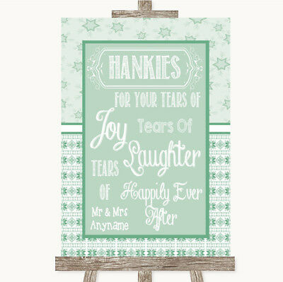 Wedding Sign Poster Print Winter Green Hankies And Tissues • 8.29$
