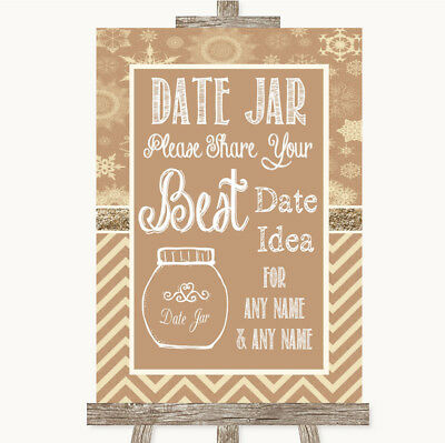 Wedding Sign Poster Print Brown Winter Date Jar Guestbook • 8.29$