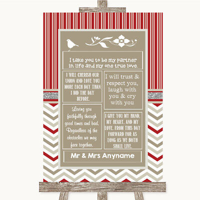 Wedding Sign Poster Print Red & Grey Winter Romantic Vows • 8.29$