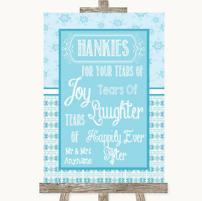 Wedding Sign Poster Print Winter Blue Hankies And Tissues • 8.29$
