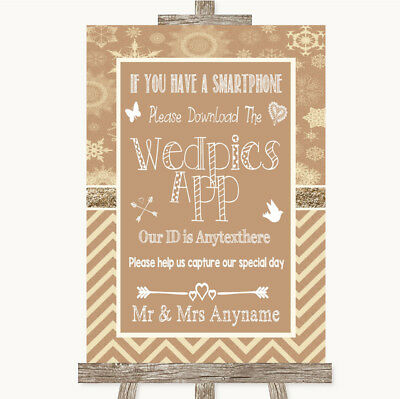 Wedding Sign Poster Print Brown Winter Wedpics App Photos • 8.29$
