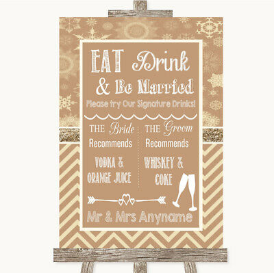 Wedding Sign Poster Print Brown Winter Signature Favourite Drinks • 8.29$