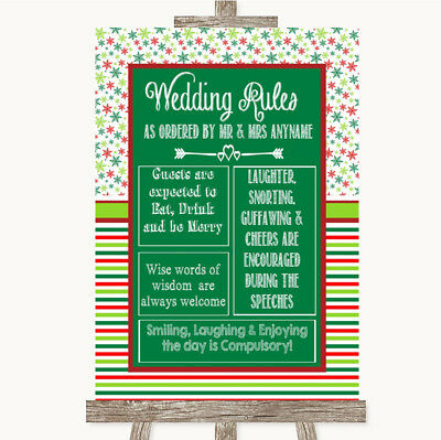 Wedding Sign Poster Print Red & Green Winter Rules Of The Wedding • 8.29$