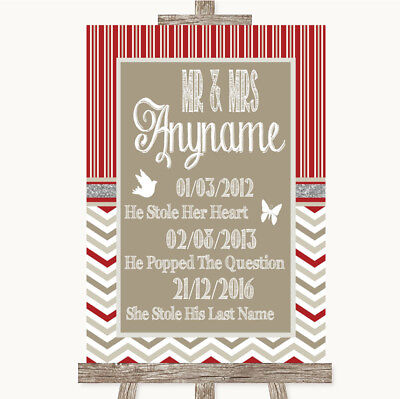 Wedding Sign Poster Print Red & Grey Winter Important Special Dates • 8.29$