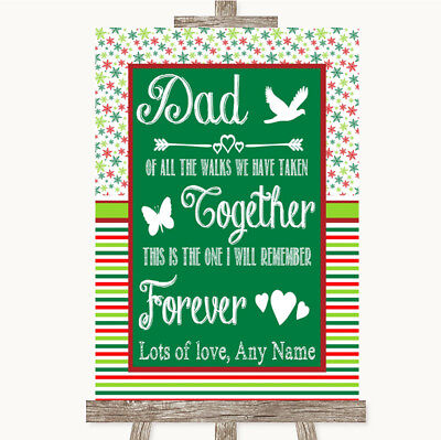Wedding Sign Poster Print Red & Green Winter Dad Walk Down The Aisle • 8.29$