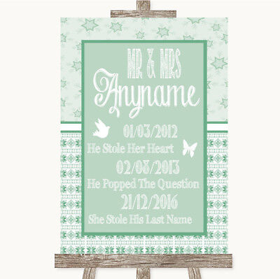 Wedding Sign Poster Print Winter Green Important Special Dates • 8.29$