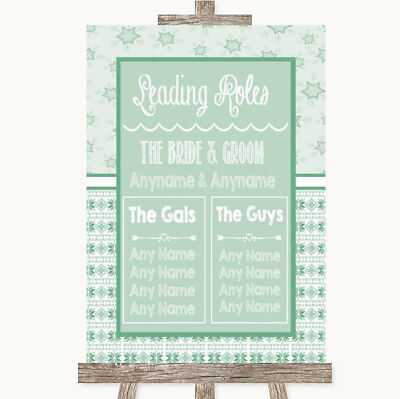 Wedding Sign Poster Print Winter Green Who's Who Leading Roles • 8.29$