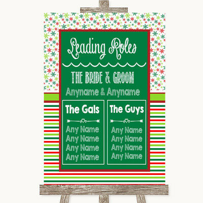Wedding Sign Poster Print Red & Green Winter Who's Who Leading Roles • 8.29$