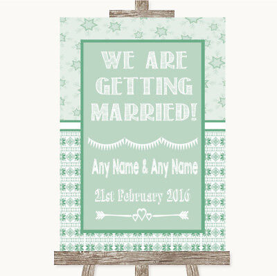 Wedding Sign Poster Print Winter Green We Are Getting Married • 8.29$