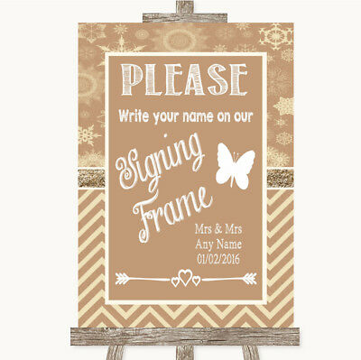 Wedding Sign Poster Print Brown Winter Signing Frame Guestbook • 8.29$