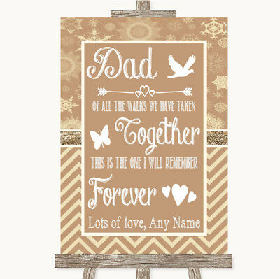 Wedding Sign Poster Print Brown Winter Dad Walk Down The Aisle • 19.99$
