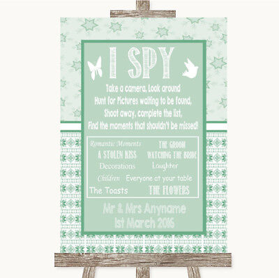 Wedding Sign Poster Print Winter Green I Spy Disposable Camera • 8.29$