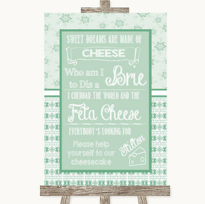 Wedding Sign Poster Print Winter Green Cheesecake Cheese Song • 8.29$