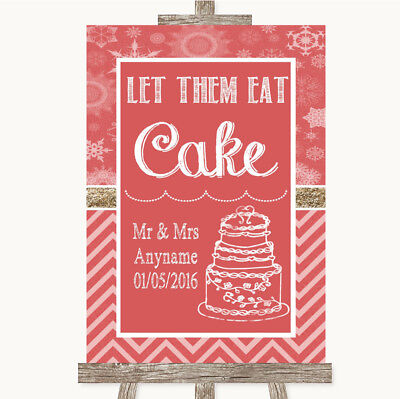 Wedding Sign Poster Print Red Winter Let Them Eat Cake • 8.29$