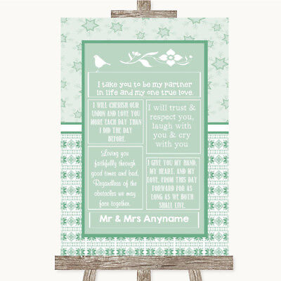 Wedding Sign Poster Print Winter Green Romantic Vows • 8.29$