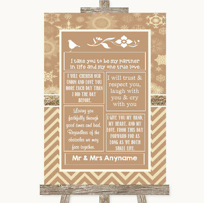 Wedding Sign Poster Print Brown Winter Romantic Vows • 19.99$