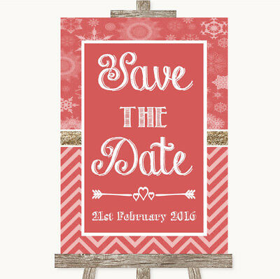 Wedding Sign Poster Print Red Winter Save The Date • 8.29$
