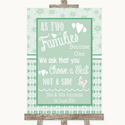 Wedding Sign Poster Print Winter Green As Families Become One Seating Plan • 8.29$