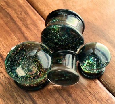 $11.50 • Buy PAIR Sparkle Galaxy Design Pyrex Glass Double Flare Plugs Gauges Body Jewelry