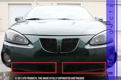 $119 • Buy GTG 2004 - 2008 Pontiac Grand Prix 2PC Gloss Black Bumper Billet Grille Kit