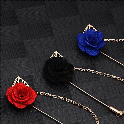ROSE PIN / Handmade Flower Brooch Boutonniere Suit Lapel Wedding Pin • 3.70£