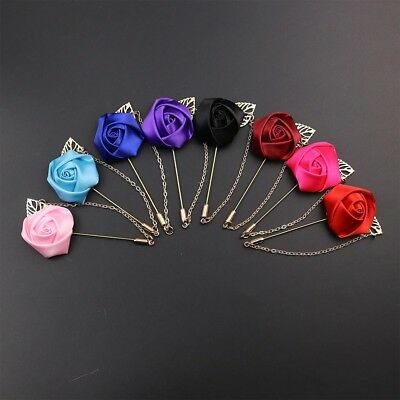 New Wedding Flower Corsage Lapel Pin Brooch Suits Boutonniere Suit Stick Pins • 3.59£