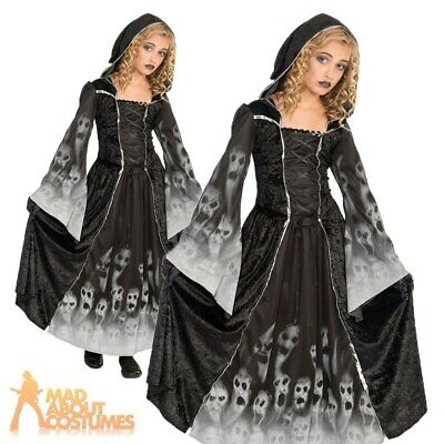 Child Girls Ghost Forgotten Souls Costume Skeleton Corpse Bride Fancy Dress Kids • 16.49£