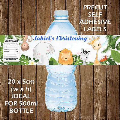 £3.10 • Buy Personalised Baby Safari Christening Water Bottle Labels Party Favours Gift Bags