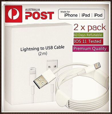 AU10.98 • Buy 2X 2m Lightning Charger Cable Compatible Genuine Apple IPhone 5 6 7 S 8 X IPad