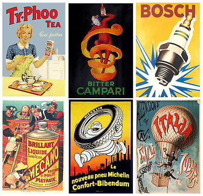 Vintage Advertising Posters Wall Art Prints A2 / A3 / A4 • 2.99£