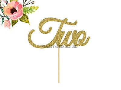 AU9.50 • Buy Two Cake Topper - Gold Two Cake Topper, 2nd Birthday Topper