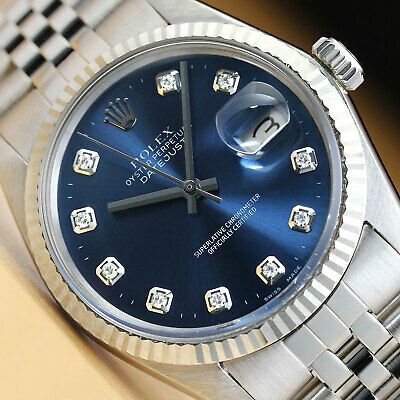 $ CDN5090.02 • Buy Mens Rolex Datejust 18k White Gold & Stainless Steel Blue Diamond Dial Watch
