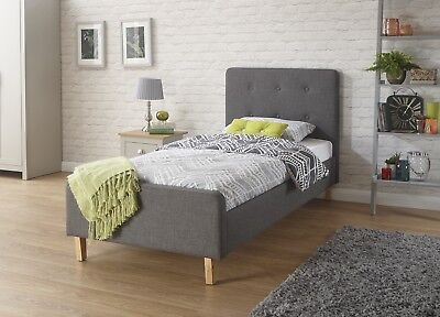 Grey Fabric Single Bed 3ft Childrens Tall Headboard Button Detail Wooden Legs • 149£