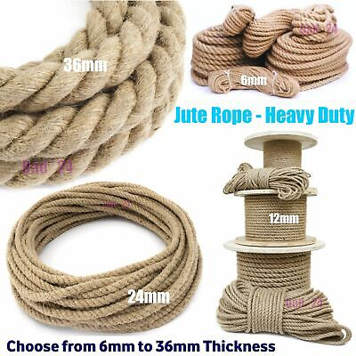 Natural Jute Rope Twisted Decking Garden Cord Boating Thick Thread Gym 6-36mm • 3.49£