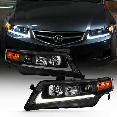 $267.71 • Buy For 04-08 Acura TSX LED Bar Neon Tube BLACK Projector Headlight Left+Right Lamp
