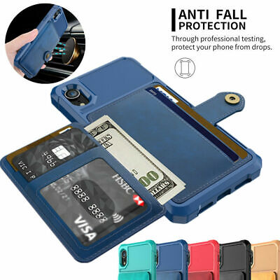 AU14.48 • Buy Magnetic Card Holder Wallet Back Case Cover For IPhone 12 11 XS Max XR 8 7 Plus