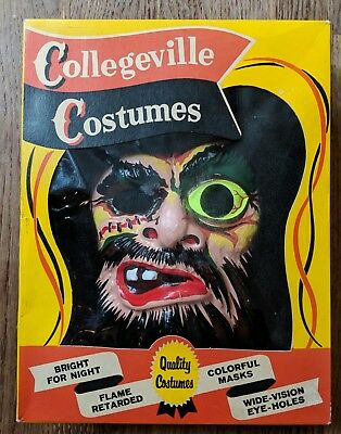 Vintage Halloween Costumes In A Box.Collegeville Mask