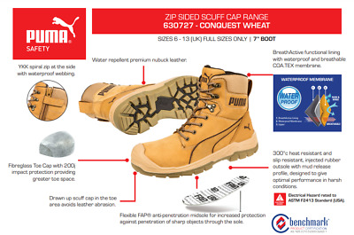 AU179 • Buy CONQUEST Wheat Waterproof SAFETY PUMA Boot 630727 'Preferred Supplier'