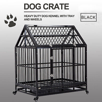 $229.99 • Buy Dog Crate Heavy Duty Cage Large Kennel Pet Playpen W/ Roof & Tray & Wheels 50  H