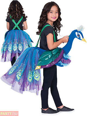 Childs Ride On Peacock Costume Girls Animal Bird Novelty Fancy Dress Kids Outfit • 19.95£