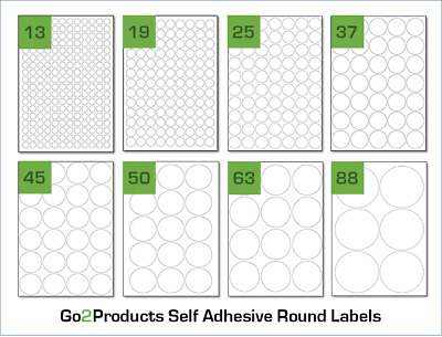 Round Labels On A4 Sheets. Circle Labels Stickers For A4 Laser & Inkjet Printers • 2.85£