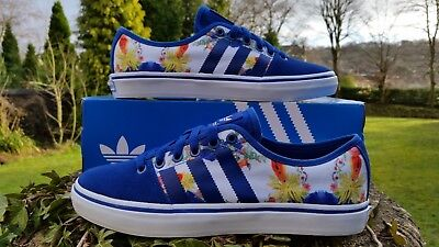Adidas Originals Girls Adria Low Trainers Shoes Sneaker Floral Blue UK 3.5  • 39.95£