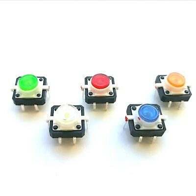12mm LED Illuminated Momentary Tactile Switch Great For Arduino PICAXE UK Seller • 0.99£