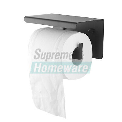 AU33 • Buy Stainless Steel Toilet Paper Roll Holder Tissue Black Wall Cover Storage Hook
