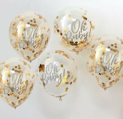 AU13.95 • Buy Oh Baby Confetti Balloons Baby Shower Gender Reveal Decorations Banner Rose Gold