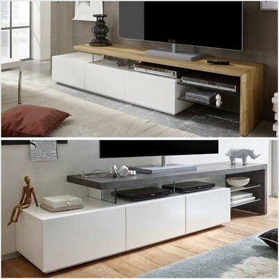 ModaNuvo Large White Grey Concrete Solid Oak Glass Modern TV Unit Cabinet Stand • 249.99£