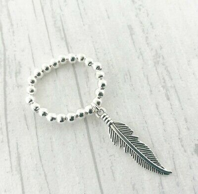 £3.99 • Buy Silver Ball Beaded Stretch Ring Dangle Feather Charm Toe Thumb Elastic Bijoux