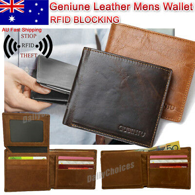 AU14.79 • Buy RFID Blocking Genuine Leather Wallet Slim Mens Purse Bifold Credit Card Holder