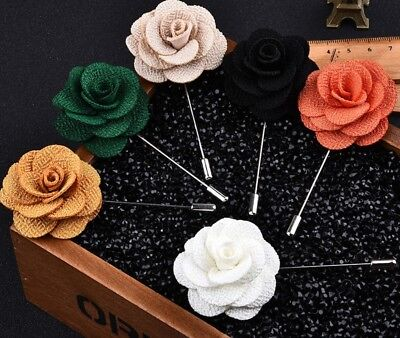 New Men Fashion Lapel Flower Daisy Rose Boutonniere Stick Brooch Pin Red • 3.50£
